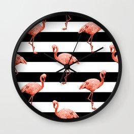Simply Flamingo Deep Coral on Midnight Black Stripes Wall Clock