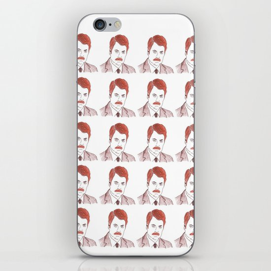"Ron Swanson ""Diptych"" iPhone & iPod Skin"