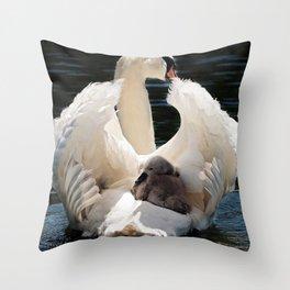 Swan Baby White Throw Pillow