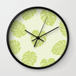 Monstera trendy - green Wall Clock