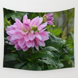 Fresh Rain Drops - Pink Dahlia Two Wall Tapestry