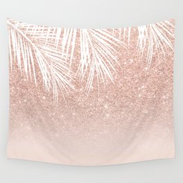 Modern tropical palm tree rose gold glitter ombre blush pink gradient Wall Tapestry