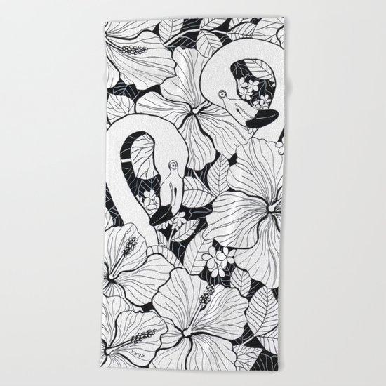 Flamingo garden Beach Towel