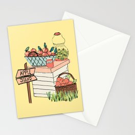 Apple Stand on Yellow Stationery Cards