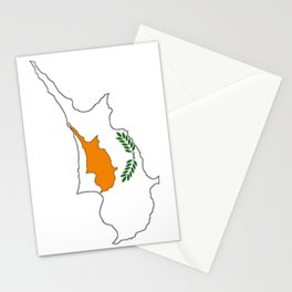 Cyprus Map with Cypriot Flag Stationery Cards