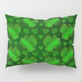 funny, laughing, shamrocks, green, st patricks day, shiny, gold, face, smile, shamrock Pillow Sham