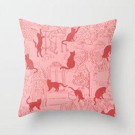 Red ats caffe on street of Paris Throw Pillow