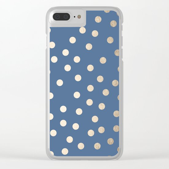 Simply Dots White Gold Sands on Aegean Blue Clear iPhone Case