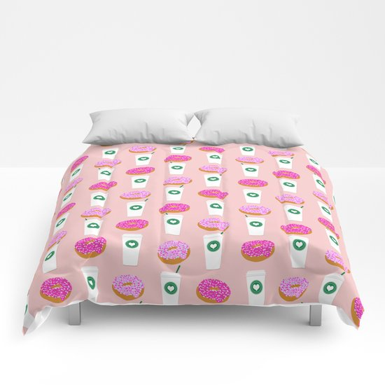 Coffee and donuts cute latte breakfast food pattern print pastel pink girly coffee cell phone cases Comforters