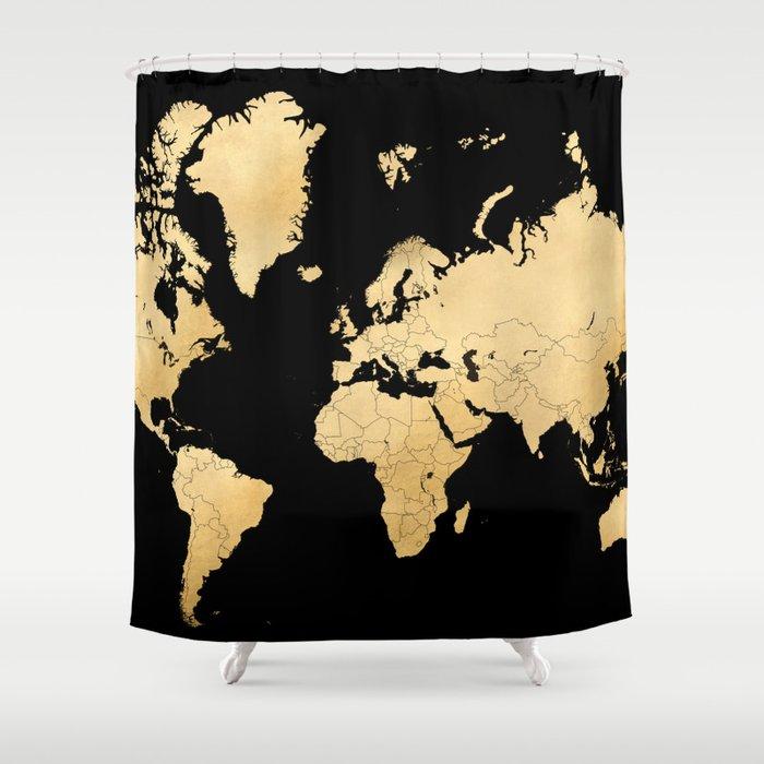 Sleek Black And Gold World Map Shower Curtain By Blursbyaishop