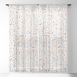 Terrazzo Pattern in Earth and Blues Tones Sheer Curtain