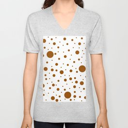 Mixed Polka Dots - Brown on White Unisex V-Neck