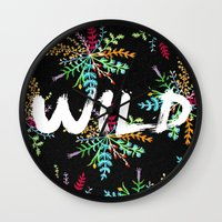 into the wild Wall Clocks featuring Wild by Camila Escat