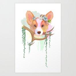 Succulent Corgi Art Print