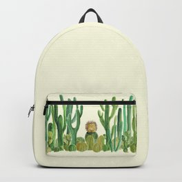 In my happy place - hedgehog meditating in cactus jungle Backpack