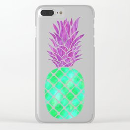 Green Pineapple Summer Clear iPhone Case