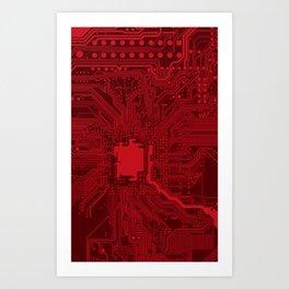 Red Geek Motherboard Circuit Pattern Art Print