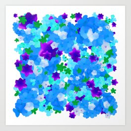 Bright Floral Pattern with Girly Flowers in Preppy Blue and Purple Art Print