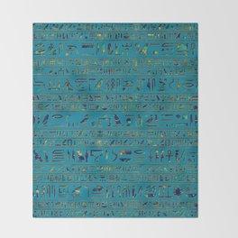 Egyptian hieroglyphs on teal leather texture Throw Blanket