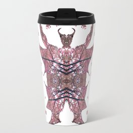 Horned Man V3 cut from Tree Leaf Photo 801 Fractal, with wings and hoofed feet. Travel Mug