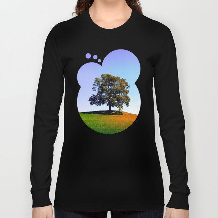 Posing tree on a hill in summertime Long Sleeve T-shirt