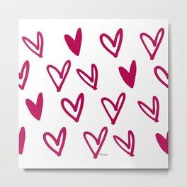 Lovely hearts - fuchsia heart pattern Metal Print