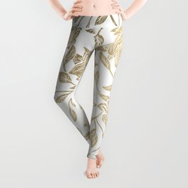 Elegant White Gold Luxury Roses Floral Leggings
