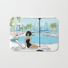 Fashion Illustration at Dubai Beach Bath Mat