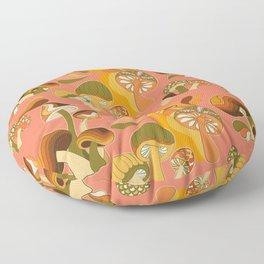 70s Mushroom Pattern, Retro 60s 70s  Floor Pillow