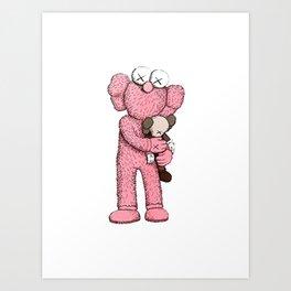 Kaws Pink Art Print