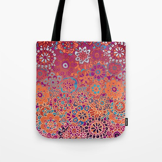 Psychedelic Ombre Flower Doodle Tote Bag