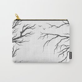 dried tree branches with birds and leaves on a light background Carry-All Pouch