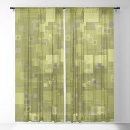 Yellow Hues Square Pixels Abstract Sheer Curtain