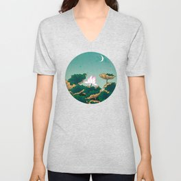Minhwa: Lotus Pond at Night C Type Unisex V-Neck