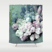 antique Shower Curtains featuring Tulips Antique by Joke Vermeer