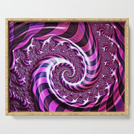 Pink and Black Spiral Illusion Serving Tray