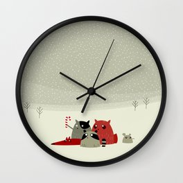Guilty dudes in the snow Wall Clock