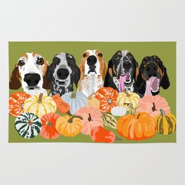Coonhounds and Gourd Rug