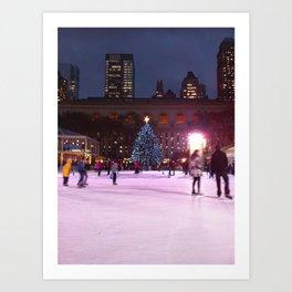 Skating at Night, NYC Art Print