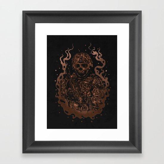Military skull Framed Art Print
