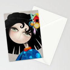 Black Hair Huge Green Eyes Stationery Cards