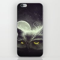 owl iPhone & iPod Skins featuring Owl & The Moon by Dr. Lukas Brezak