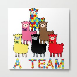 A  Team Autism Awareness, Advocacy & Support Cute Colorful Llamas Metal Print