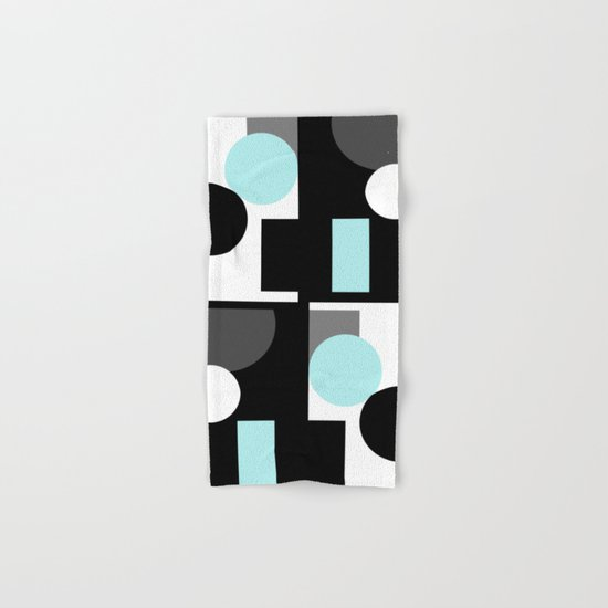 An abstract geometric pattern . Geometric shapes . Black sky blue white pattern . Hand & Bath Towel