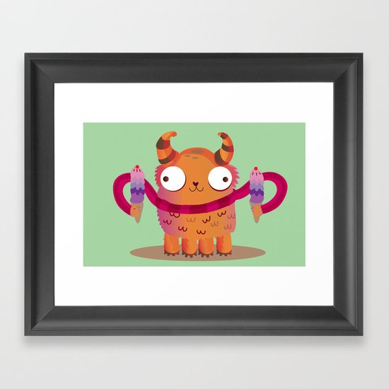 Icecream monster Framed Art Print