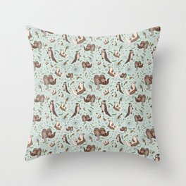 Cute Sea Otters Throw Pillow