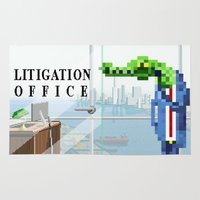lawyer Area & Throw Rugs featuring Litigation Office by Uri Tuchman
