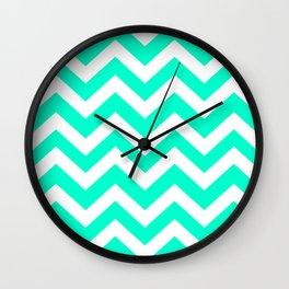 Sea green (Crayola) - heavenly color - Zigzag Chevron Pattern Wall Clock