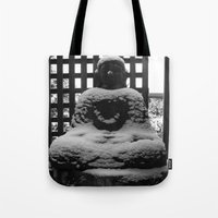 buddah Tote Bags featuring Snowy Buddah by Nearlycanadian