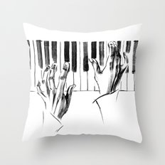 hands of a pianist playing music on the piano Throw Pillow